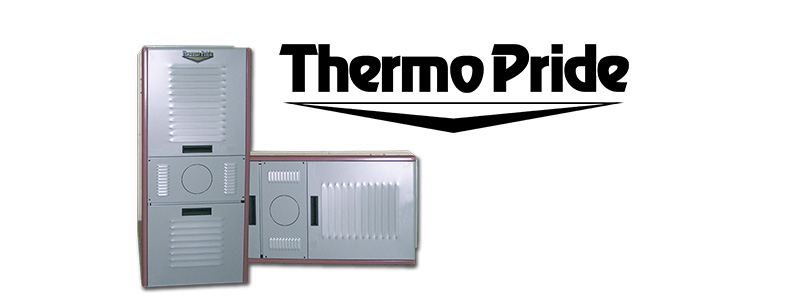 Thermo Pride logo and two furnaces