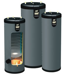 Three Phase III water heaters, one cutaway to show inside