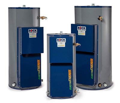 Three different sized blue and grey Bock water heaters